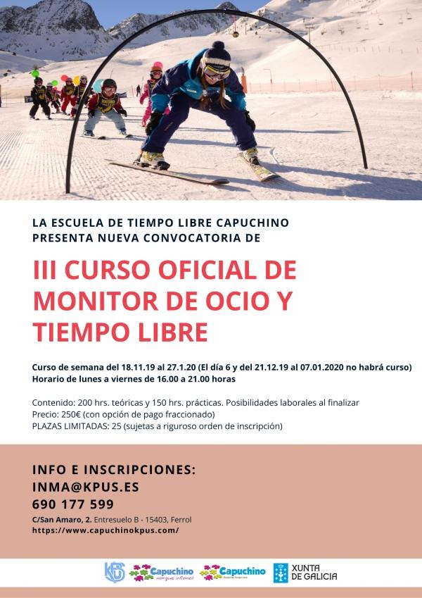 Curso de Monitor/a de actividades de tempo libre en Ferrol da escola Capuchino