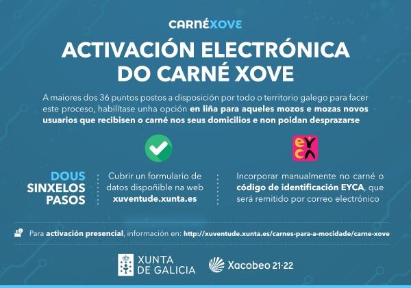 A Xunta dá a opción de activar o Carné Xove por vía electrónica