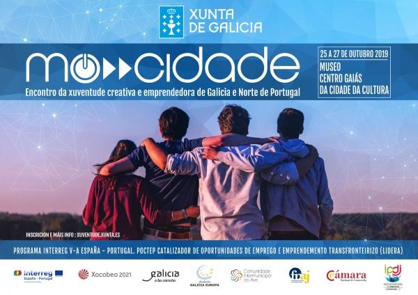 """""""Mocidade"""": Encontro da xuventude creativa e emprendedora Galicia- Norte de Portugal. Santiago de Compostela, 25 – 27 de outubro de 2019"""