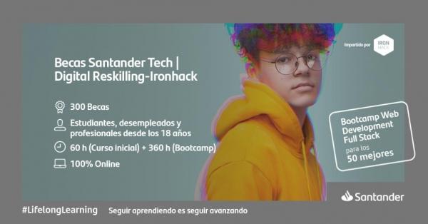 Bolsas Santander Tech. Formación en desenvolvemento web