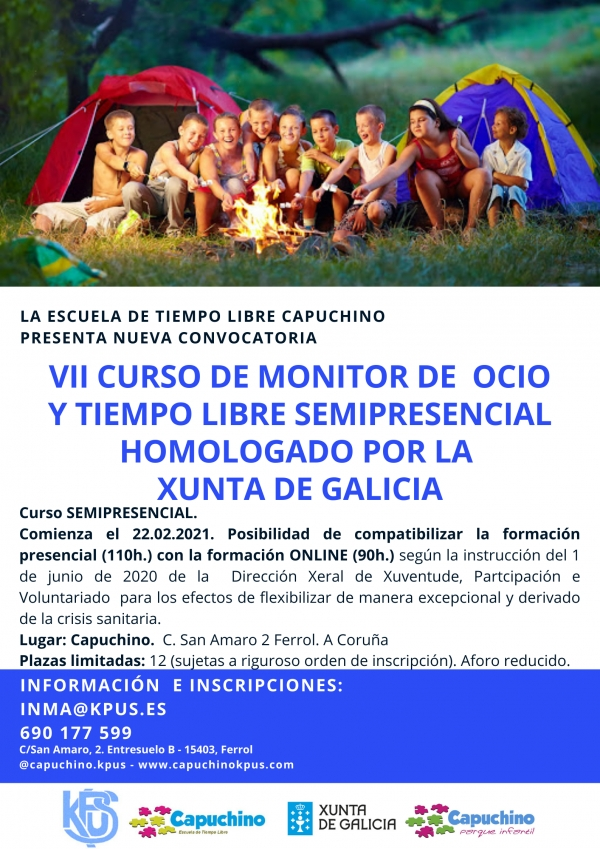 Curso en Ferrol de Monitor/a de actividades de tempo libre da ETL Capuchino