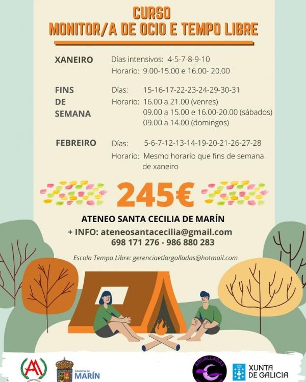 Curso en Marín de Monitores/as de actividades de tempo libre da ETL Argalladas
