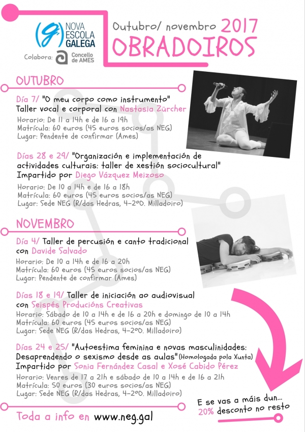 Obradoiros de outubro e novembro de Nova Escola Galega