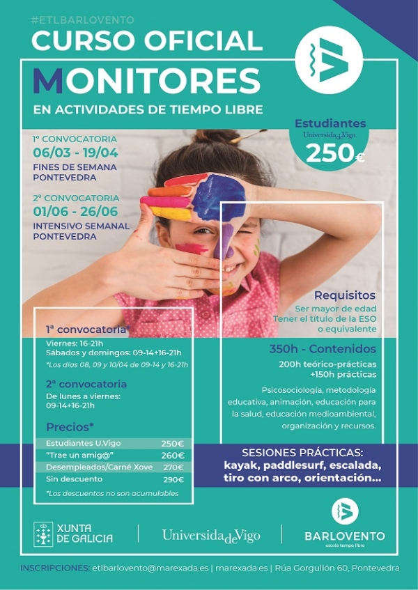 Curso Monitor/a de actividades de tempo libre en Pontevedra da escola Barlovento