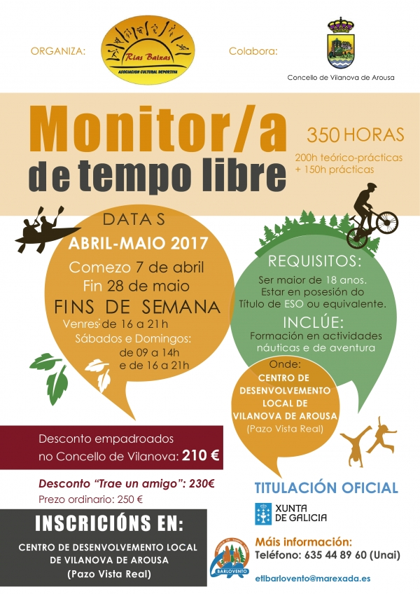 Curso de Monitor/a de ocio e tempo libre en Vilanova de Arousa