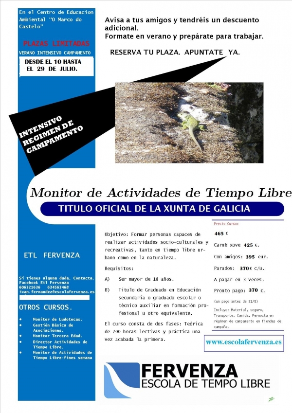 Curso intensivo de Monitoras/es de Actividades de Tempo Libre en Santa María de Oia