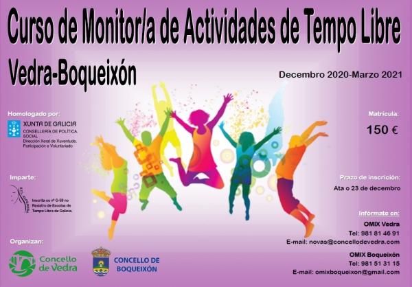 Curso en Vedra e en Boqueixón de Monitor/a de actividades de tempo libre da ETL Aloumiña