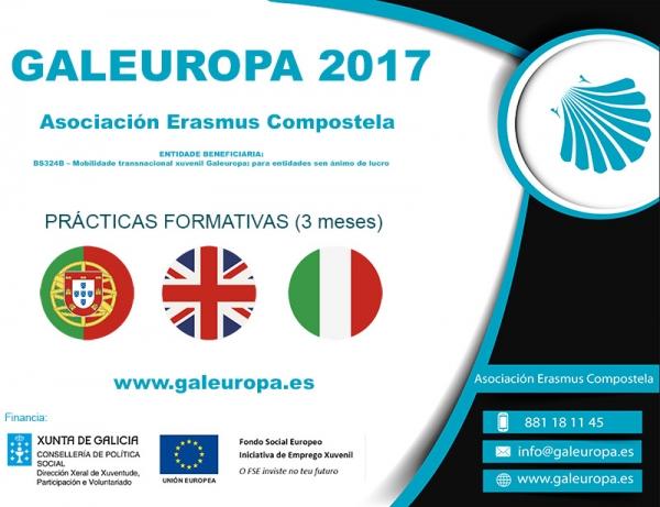 Prazas ofertadas pola Asociación Erasmus Compostela dentro do programa Galeuropa 2017