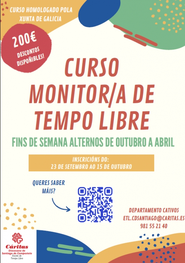 Curso en Santiago de Compostela de Monitor/a de actividades de tempo libre da ETL de Cáritas