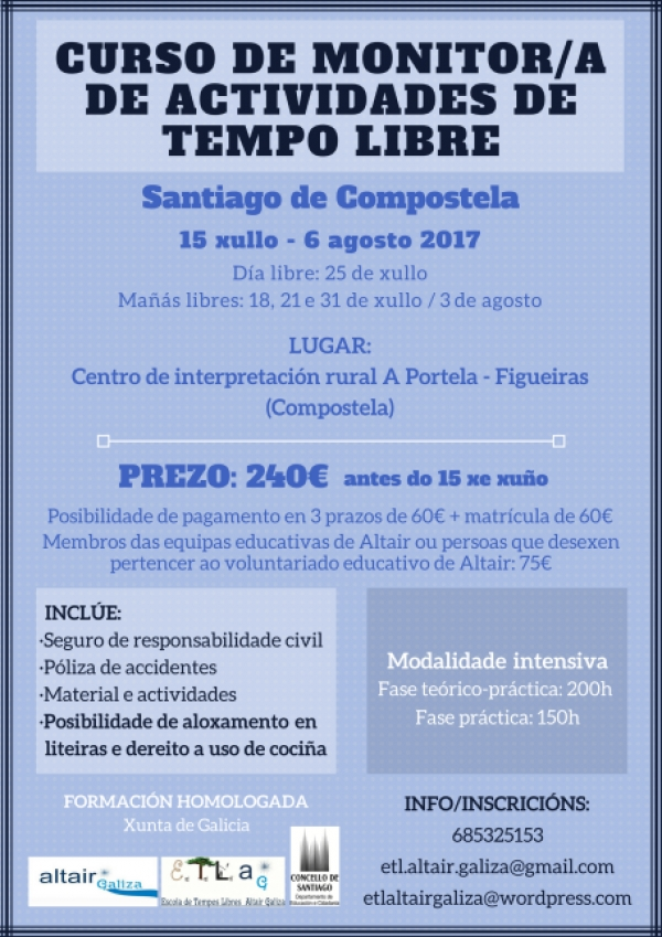 Curso de Monitor/a de actividades de tempo libre en Santiago de Compostela