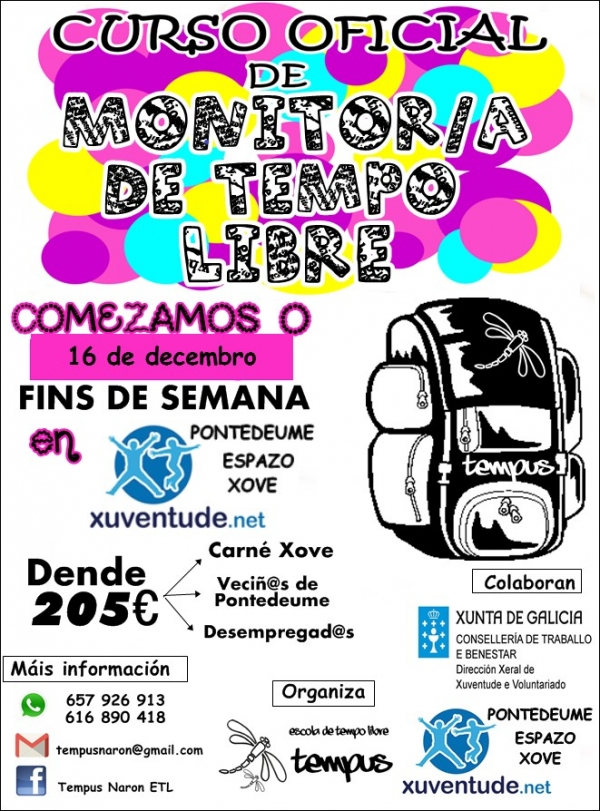 Curso de Monitor/a de actividades de tempo libre en Pontedeume