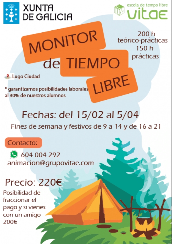 Curso de Monitor/a de actividades de Tempo Libre en Lugo da escola Vitae