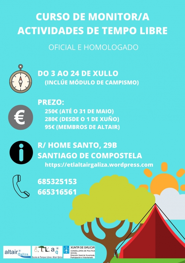 Curso de Monitor/a de actividades de tempo libre en Compostela da ETL Altair Galiza