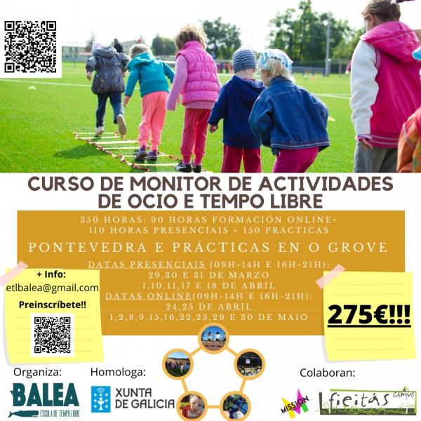 Curso en  Pontevedra de Monitor/a de actividades de tempo libre da ETL Balea