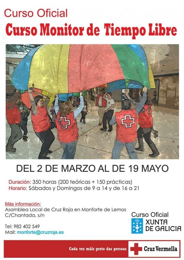 Curso de Monitor/a de actividades de tempo libre de Cruz Vermella en Monforte de Lemos