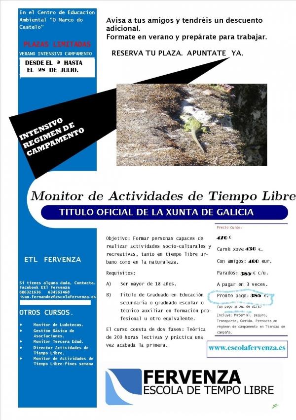 Curso intensivo de Monitor/a de actividades de tempo libre en Santa María de Oia