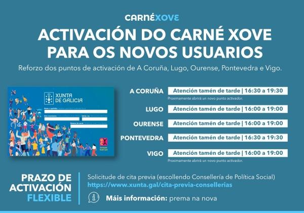Reforzo dos puntos de activación do Carné Xove