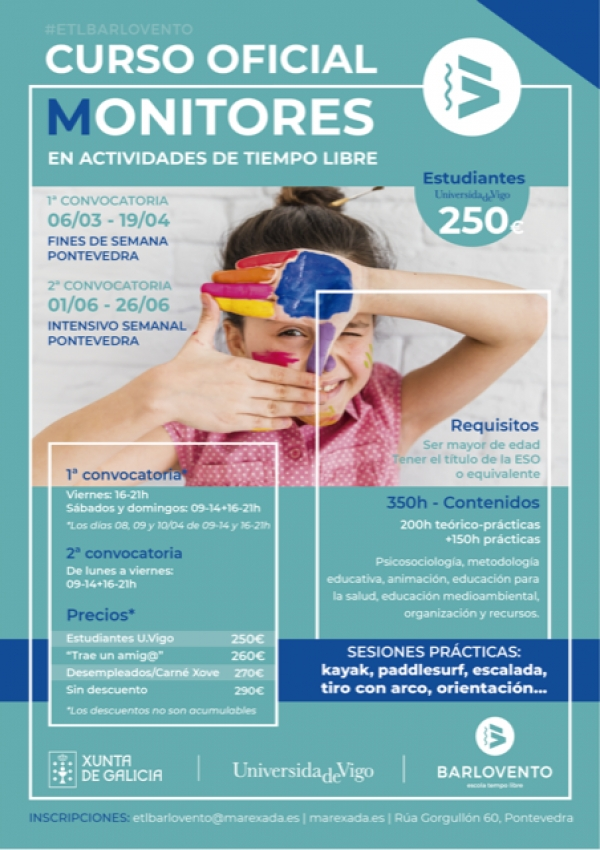 Curso de Monitores/as en actividades de tempo libre en Pontevedra da escola Barlovento