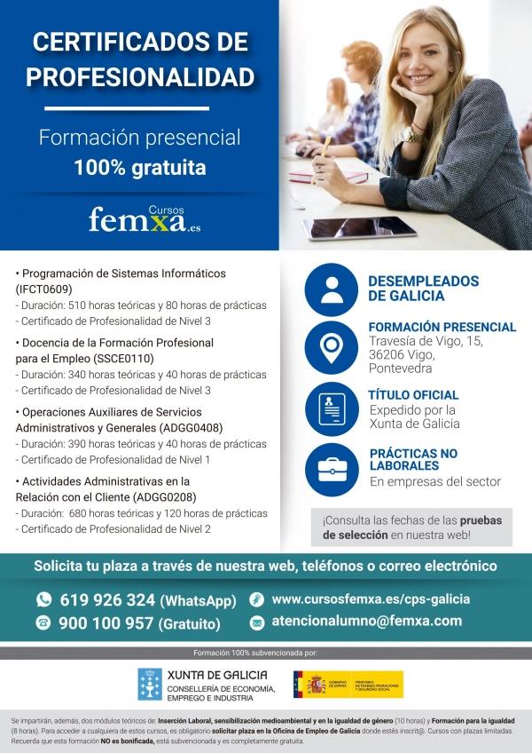 Accións formativas para a obtención de certificados de profesionalidade