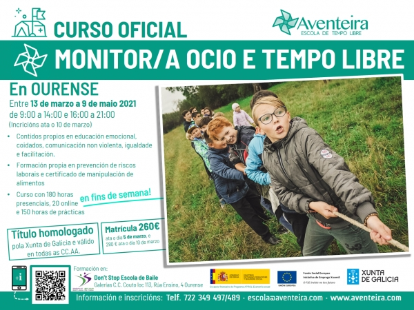 Curso en Ourense de  Monitor/a en actividades de tempo libre da ETL Aventeira
