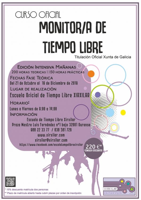 Curso Monitor/a de actividades de tempo libre en Ourense da Escola Xirxilar