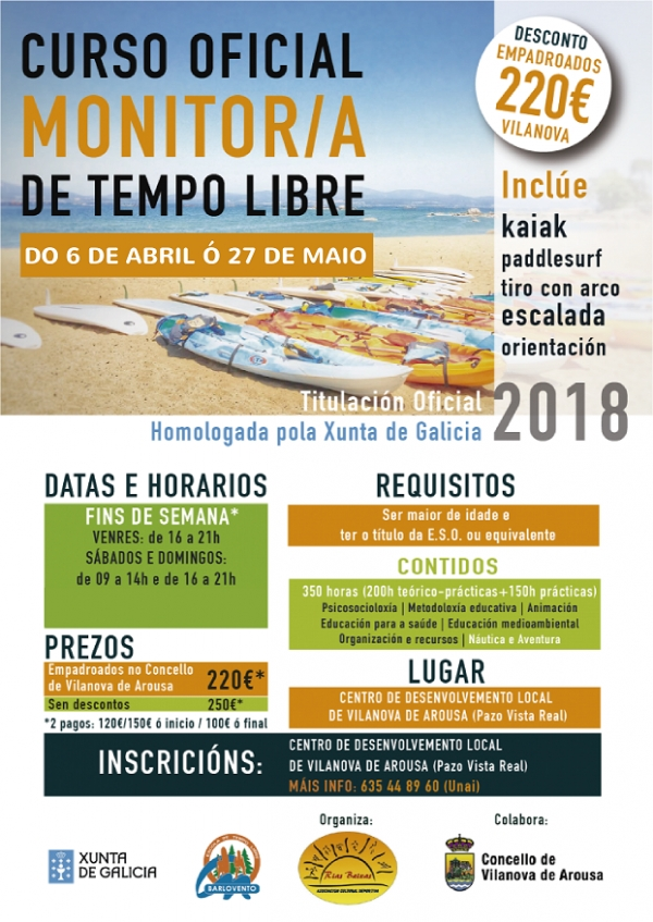 Curso de monitor/a de actividades de tempo libre en Vilanova de Arousa