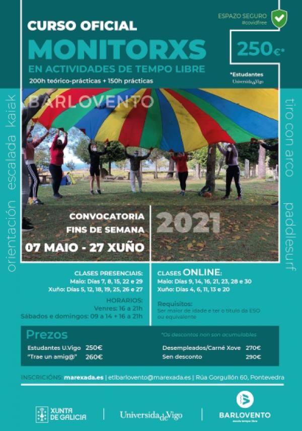 Curso en Pontevedra de Monitor/a de actividades de tempo libre da ETL Barlovento (fins de semana)