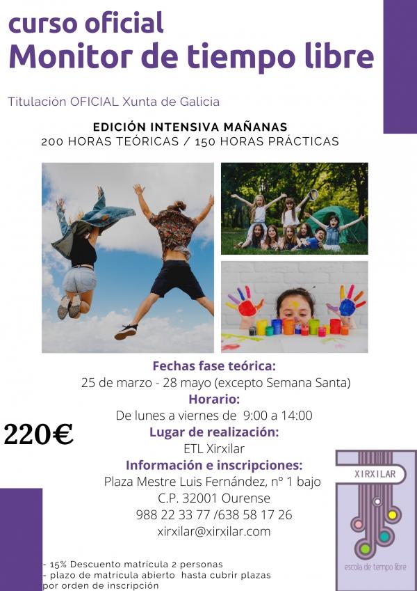 Curso en Ourense de Monitor/a de actividades de tempo libre da ETL Xirxilar