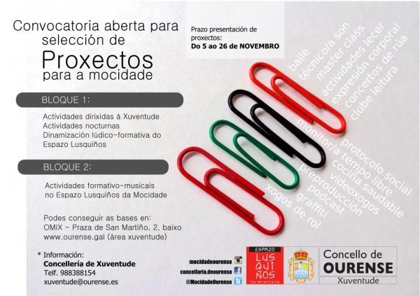 Proxectos destinados á mocidade no Concello de Ourense