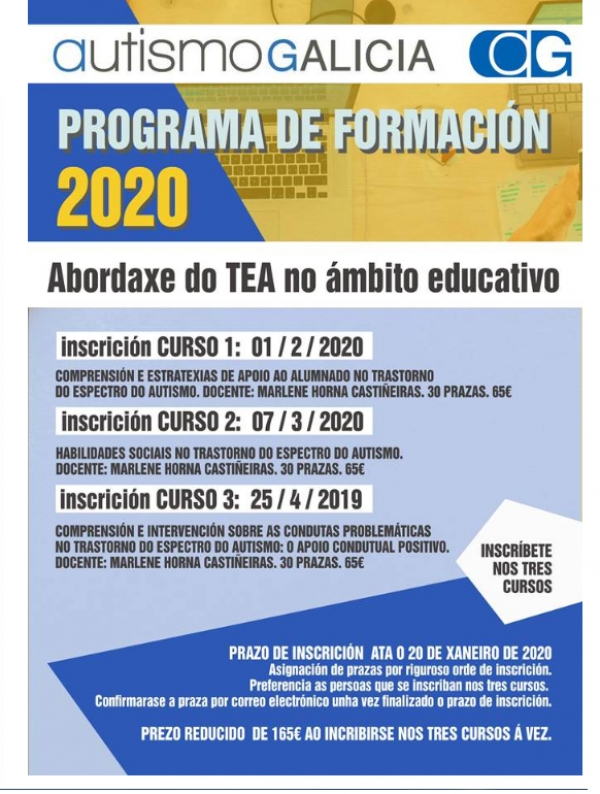 Cursos sobre Abordaxe do TEA no ámbito educativo