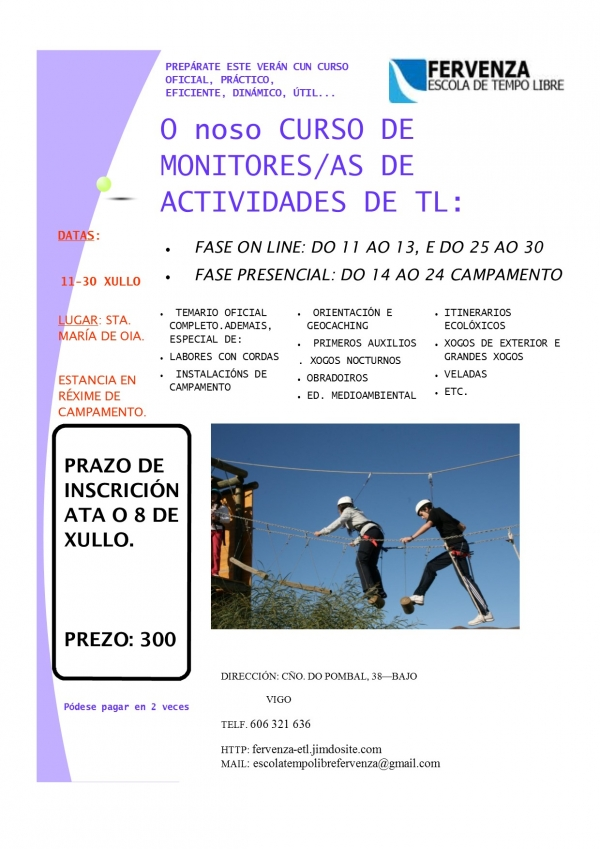 Curso de monitor/a de actividades de tempo libre da ETL Fervenza