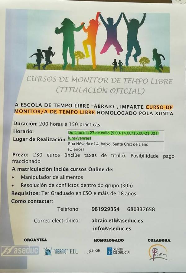 Curso de Monitoras/es de Actividades de Tempo Libre en Santa María de Oleiros