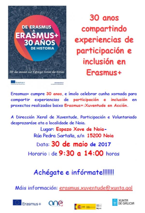 Xornada 30 anos compartindo experiencias de participación e inclusión en Erasmus+